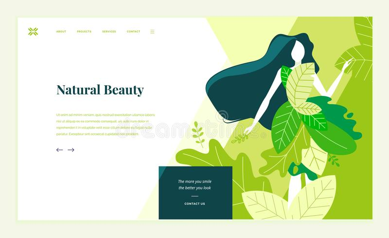 Webbsidadesignmall för skönhet, brunnsort, wellness, naturprodukter, skönhetsmedel, kroppomsorg, sunt liv stock illustrationer