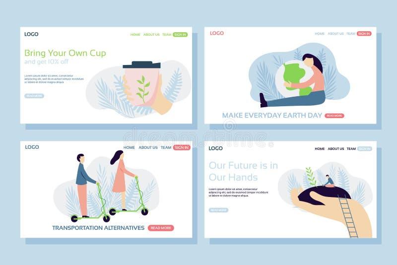 Webbsidadesignmallar ställde in av den återvinningsbara koppen och att krama planeten, trans.alternativ som planterar ett träd royaltyfri illustrationer