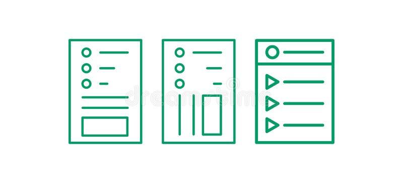 Webbsidasymbolsuppsättning Redigera linjen logo Anmärkningsvektorillustation vektor illustrationer