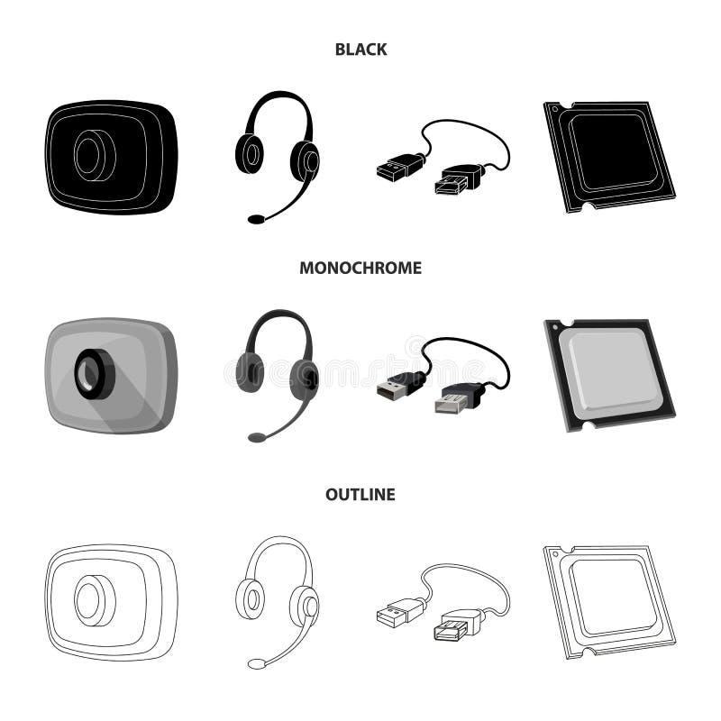 Webcam, auriculares, cable del USB, procesador Iconos de computadora personal de la colección del sistema en negro, monocromático stock de ilustración