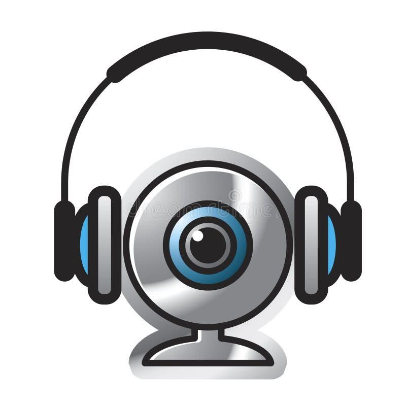 Webcam avec l'ensemble de tête illustration stock
