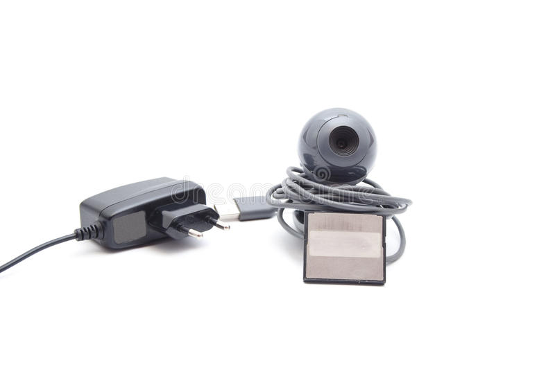 Download Webcam With Card Medium And Power Plug Stock Image - Image: 33965459