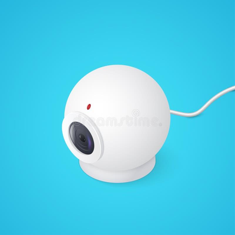 webcam 3D sur le fond bleu Illustration isométrique de vecteur illustration stock