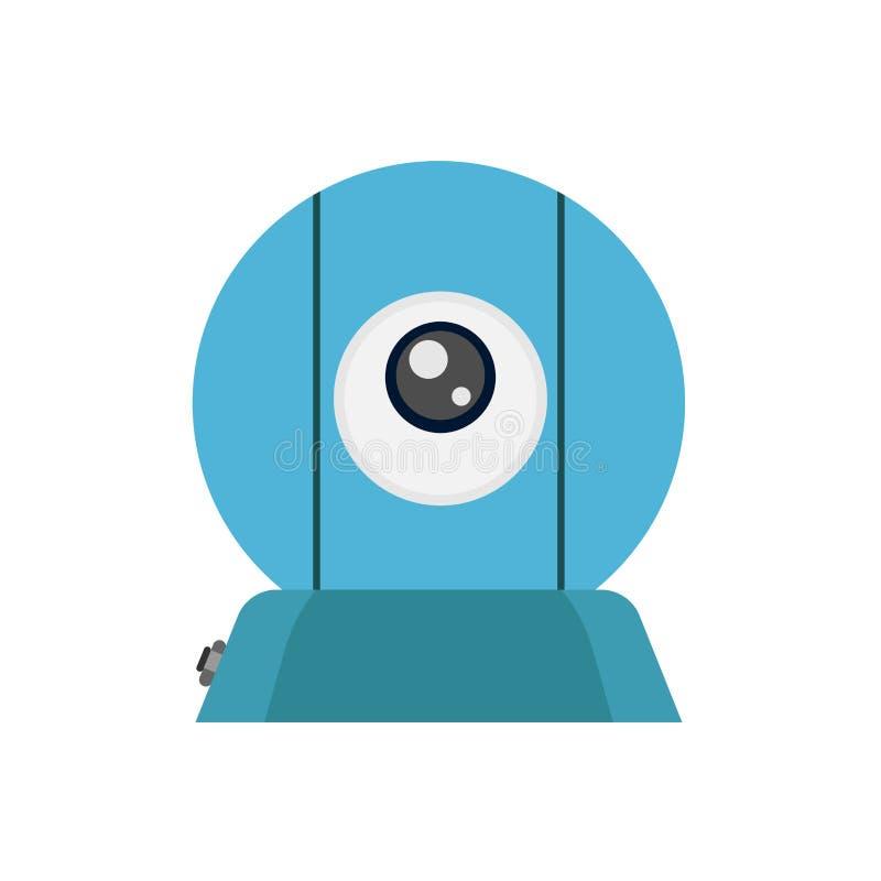 Webcam front view vector icon illustration communication flat equipment concept. Network live lens media stock illustration