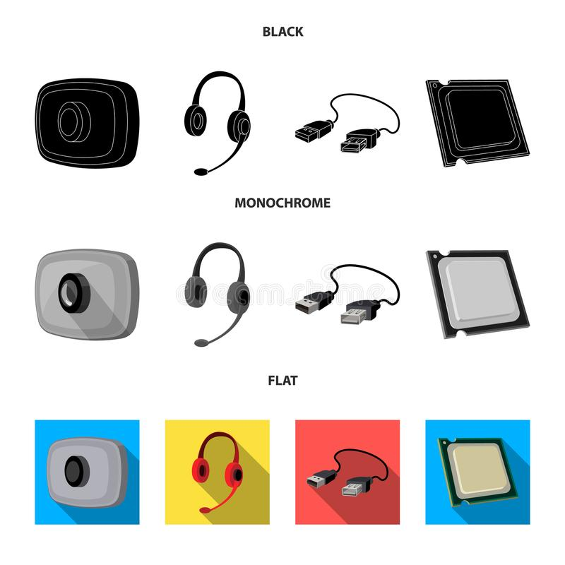 Webcam, headphones, USB cable, processor. Personal computer set collection icons in black, flat, monochrome style vector. Symbol stock illustration royalty free illustration