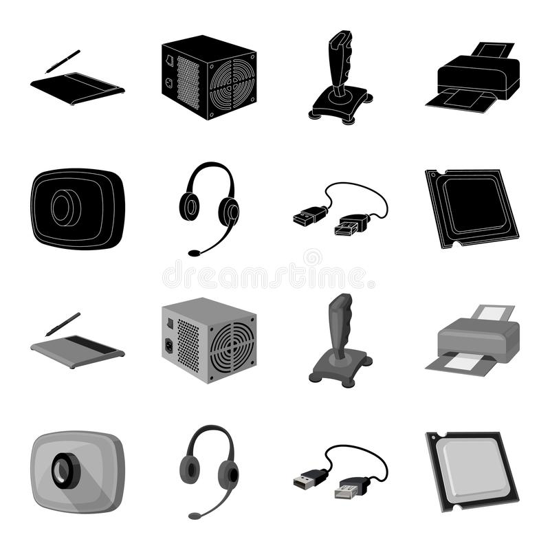 Webcam, headphones, USB cable, processor. Personal computer set collection icons in black,monochrome style vector symbol. Stock illustration vector illustration