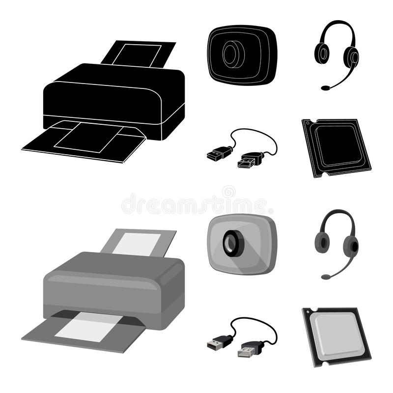 Webcam, headphones, USB cable, processor. Personal computer set collection icons in black,monochrome style vector symbol. Stock illustration royalty free illustration