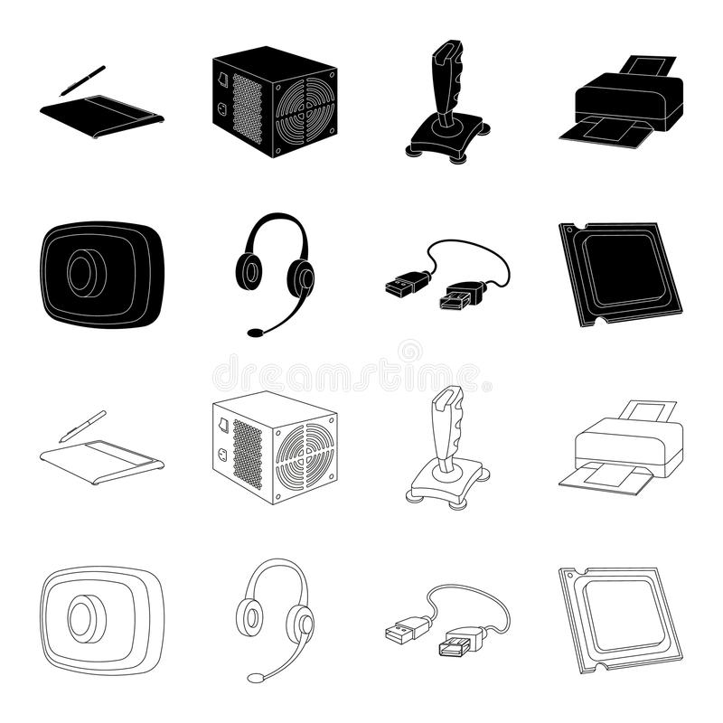 Webcam, headphones, USB cable, processor. Personal computer set collection icons in black,outline style vector symbol. Stock illustration royalty free illustration