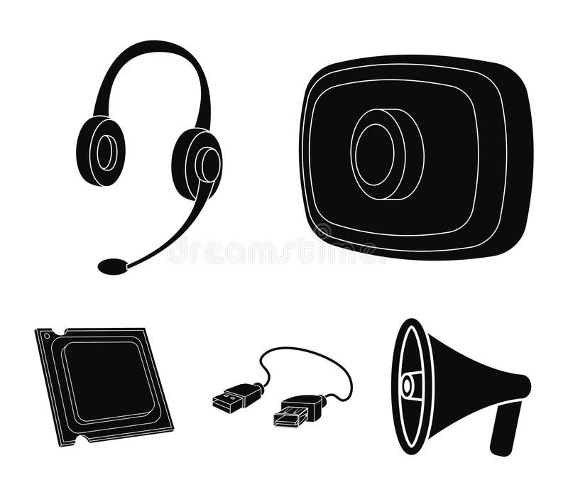 Webcam, headphones, USB cable, processor. Personal computer set collection icons in black style vector symbol stock. Illustration royalty free illustration