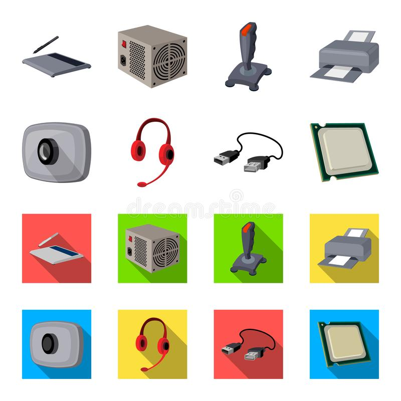 Webcam, headphones, USB cable, processor. Personal computer set collection icons in cartoon,flat style vector symbol. Stock illustration vector illustration