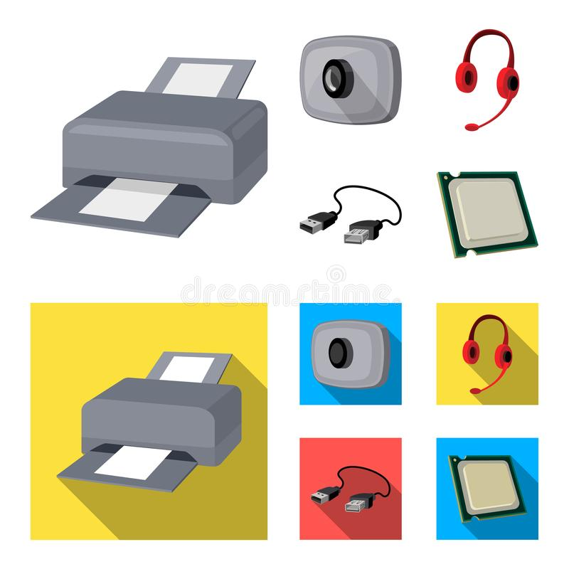 Webcam, headphones, USB cable, processor. Personal computer set collection icons in cartoon,flat style vector symbol. Stock illustration stock illustration