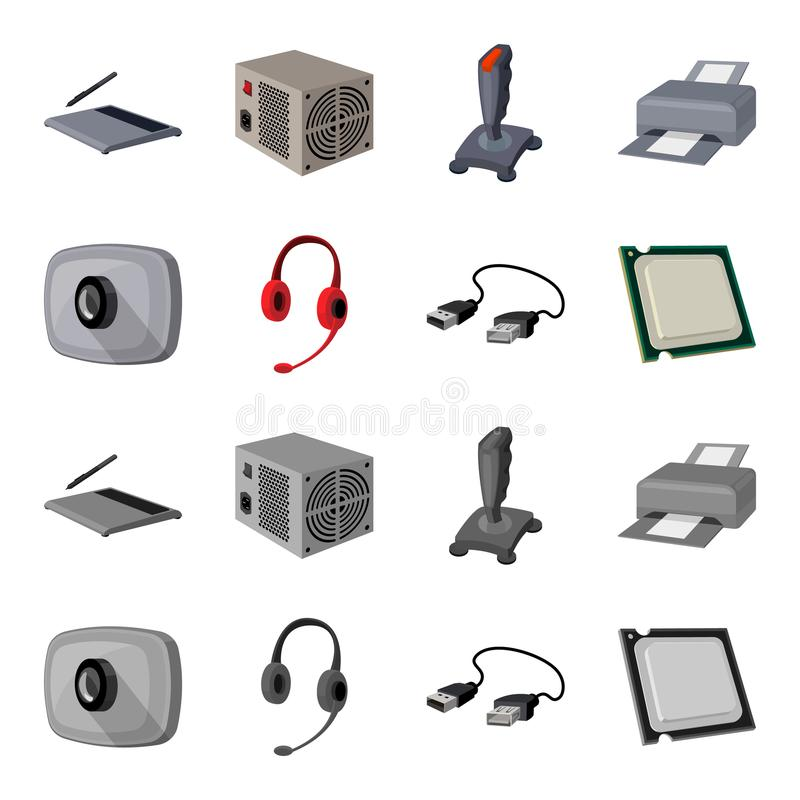 Webcam, headphones, USB cable, processor. Personal computer set collection icons in cartoon,monochrome style vector. Symbol stock illustration stock illustration