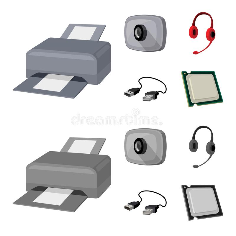 Webcam, headphones, USB cable, processor. Personal computer set collection icons in cartoon,monochrome style vector. Symbol stock illustration vector illustration