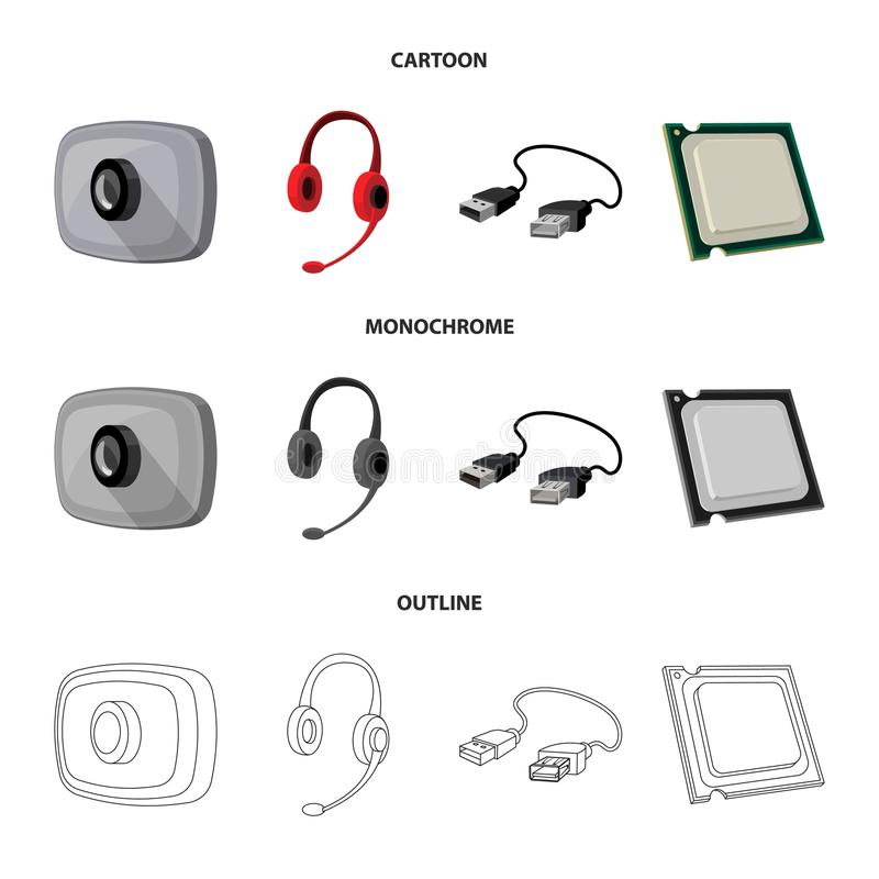 Webcam, headphones, USB cable, processor. Personal computer set collection icons in cartoon,outline,monochrome style. Vector symbol stock illustration stock illustration