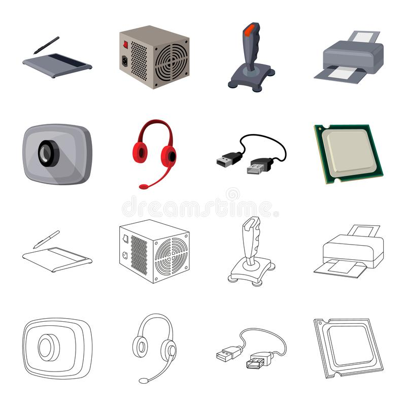 Webcam, headphones, USB cable, processor. Personal computer set collection icons in cartoon,outline style vector symbol. Stock illustration vector illustration