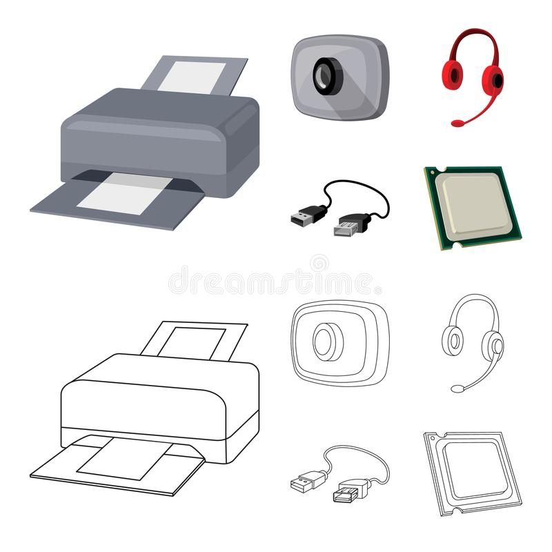 Webcam, headphones, USB cable, processor. Personal computer set collection icons in cartoon,outline style vector symbol. Stock illustration stock illustration