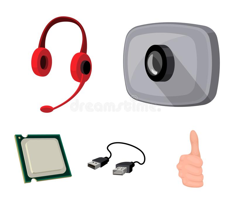 Webcam, headphones, USB cable, processor. Personal computer set collection icons in cartoon style vector symbol stock. Illustration vector illustration
