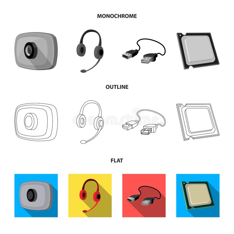 Webcam, headphones, USB cable, processor. Personal computer set collection icons in flat,outline,monochrome style vector. Symbol stock illustration royalty free illustration