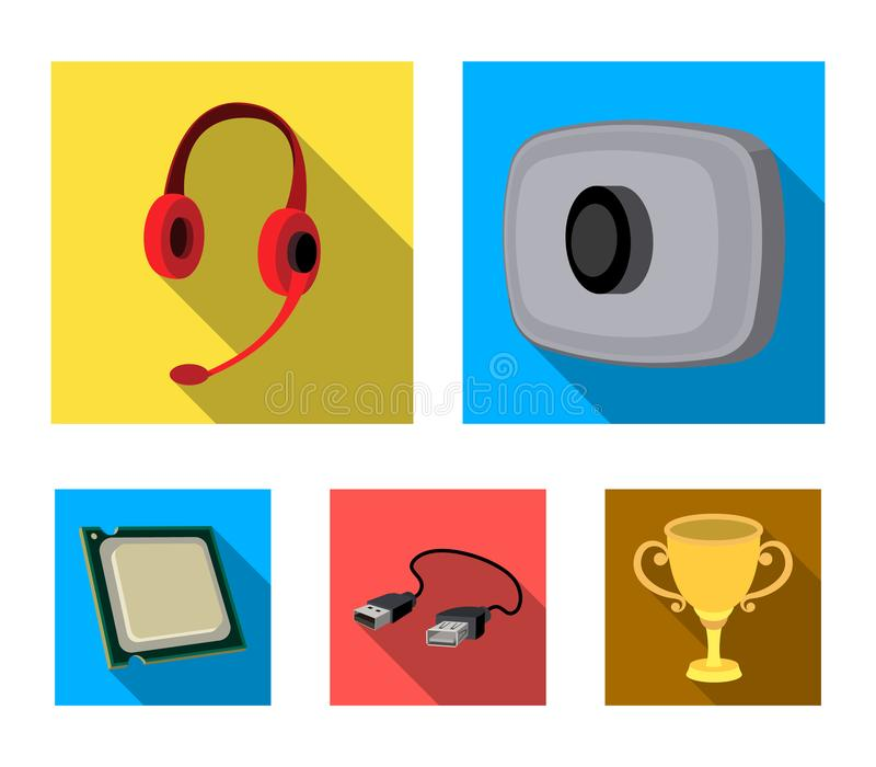 Webcam, headphones, USB cable, processor. Personal computer set collection icons in flat style vector symbol stock. Illustration stock illustration