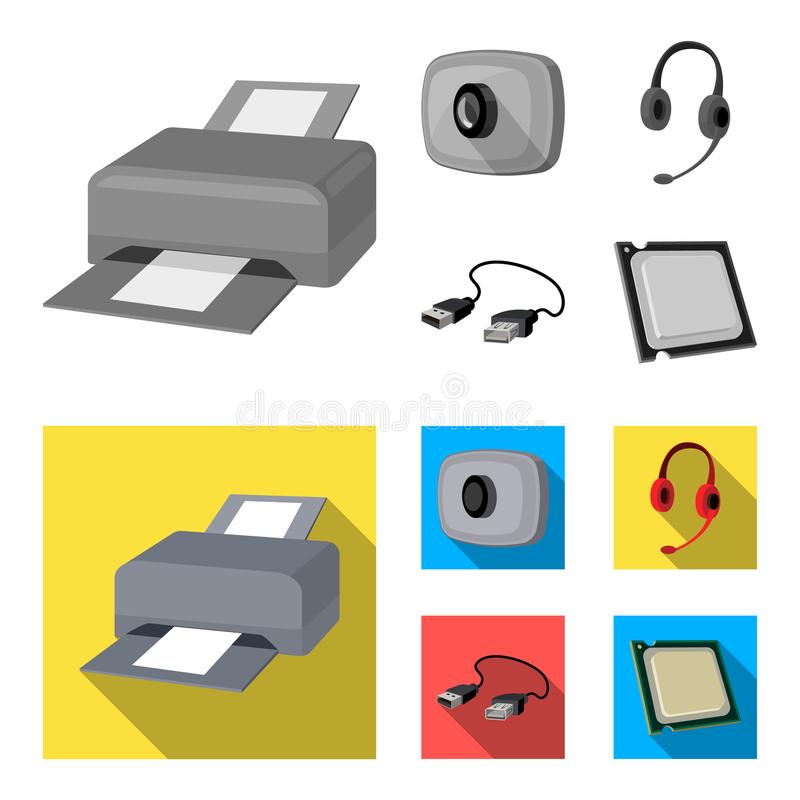 Webcam, headphones, USB cable, processor. Personal computer set collection icons in monochrome,flat style vector symbol. Stock illustration royalty free illustration