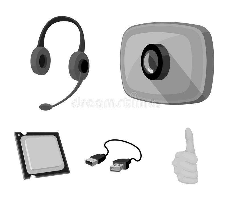 Webcam, headphones, USB cable, processor. Personal computer set collection icons in monochrome style vector symbol stock. Illustration royalty free illustration
