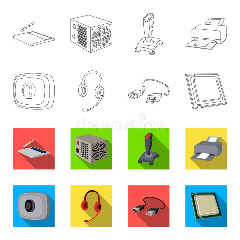 Webcam, headphones, USB cable, processor. Personal computer set collection icons in outline,flet style vector symbol. Stock illustration royalty free illustration
