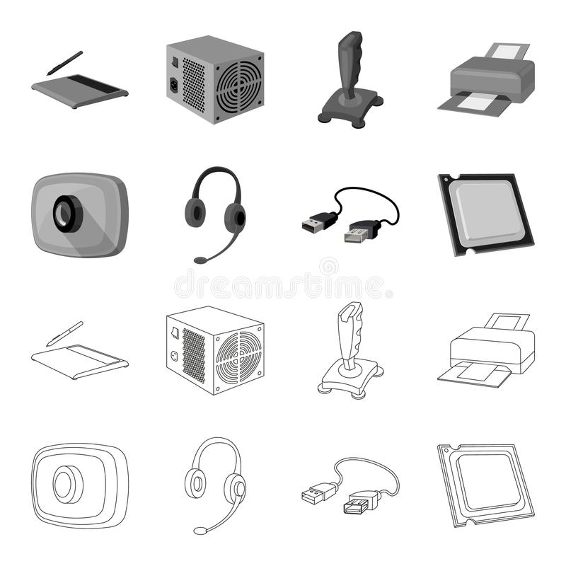 Webcam, headphones, USB cable, processor. Personal computer set collection icons in outline,monochrome style vector. Symbol stock illustration royalty free illustration