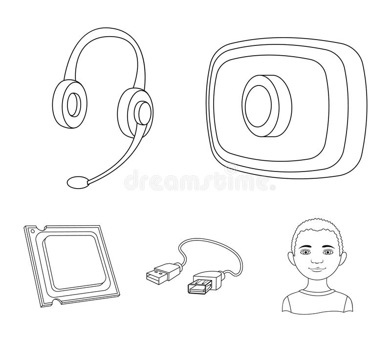 Webcam, headphones, USB cable, processor. Personal computer set collection icons in outline style vector symbol stock. Illustration stock illustration