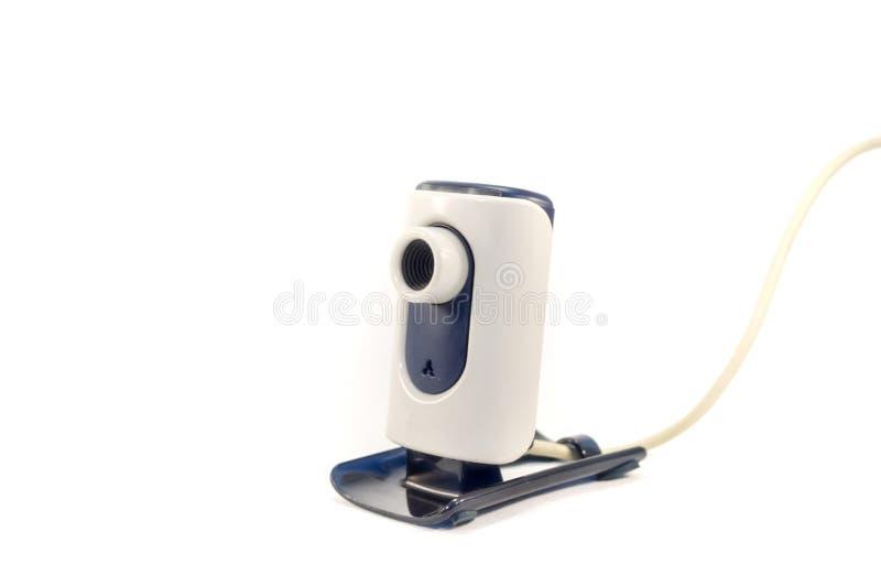 Webcam med den liten foten och USB kabel arkivbild