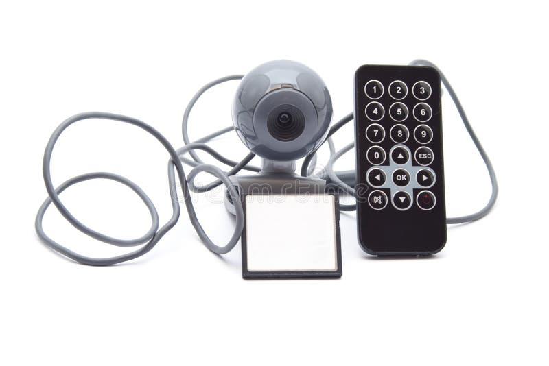 Webcam med kortmedel och fjärrkontroll fotografering för bildbyråer
