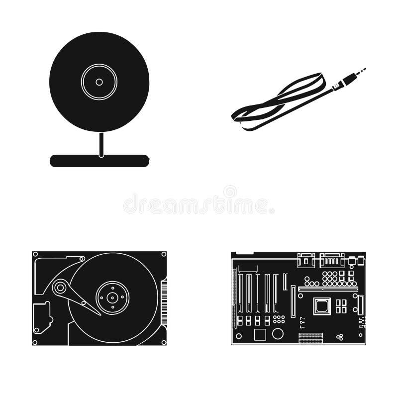 Webcam, Motherboard und andere Ausrüstung Personal-Computersatzsammlungsikonen in der schwarzen Art vector Symbolvorrat stock abbildung
