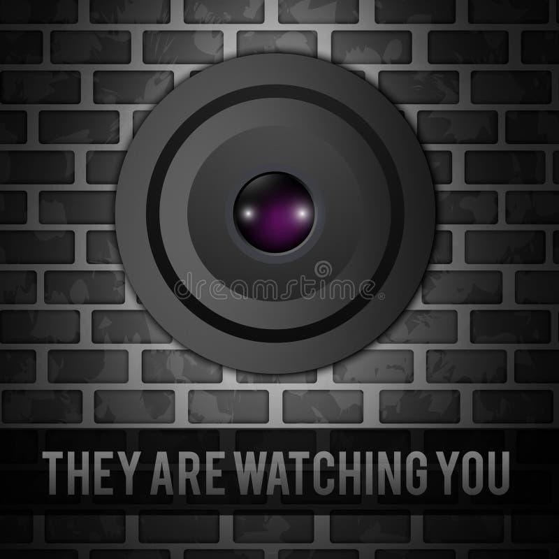 Webcam på väggen royaltyfri illustrationer