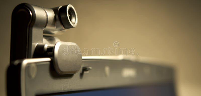 Webcam sur l'écran d'ordinateur B images libres de droits