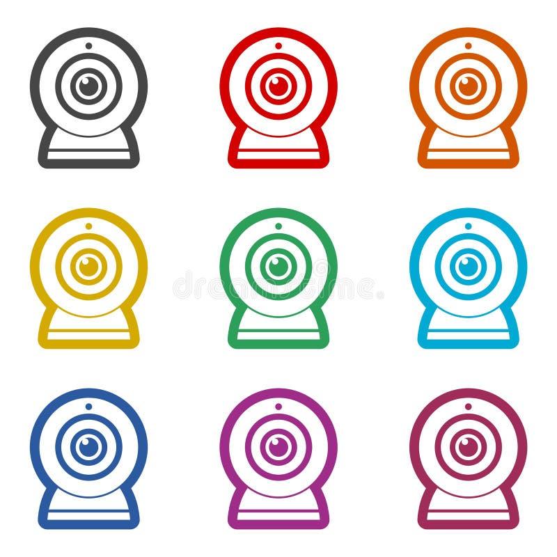Webcamteckensymbol, färgsymbolsuppsättning royaltyfri illustrationer