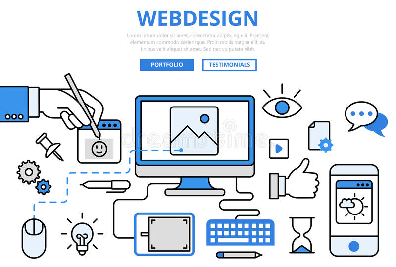 Webdesign网站设计GUI概念平的线艺术传染媒介象 向量例证