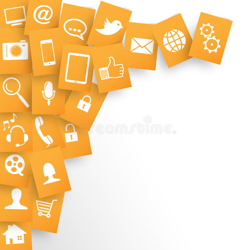 Webdesign Applications Background in Orange papers. Webdesign Applications In Orange Papers Scattered On a White Background royalty free illustration