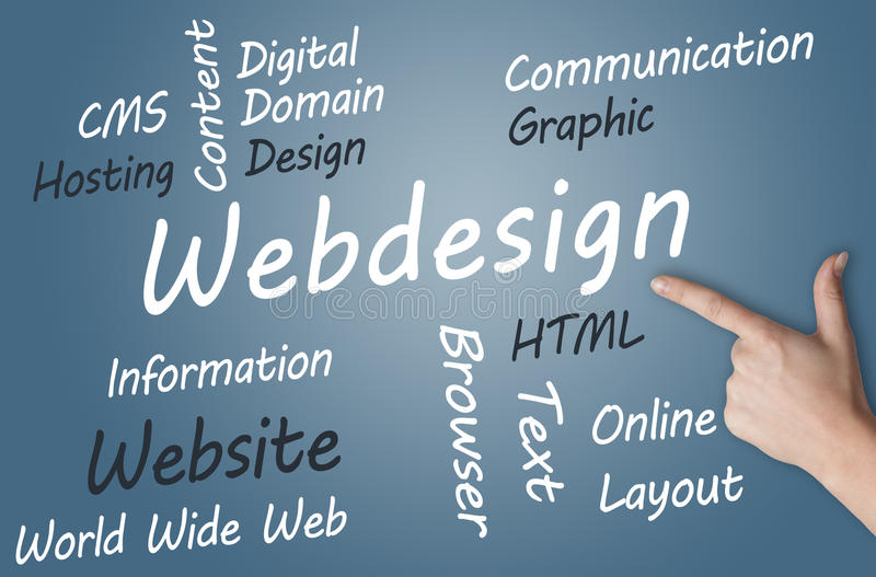 Webdesign Concept. Webdesign wordcloud concept illustration on blue-grey background stock illustration