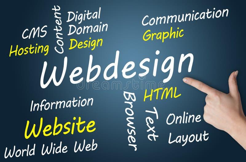 Webdesign Concept. Webdesign wordcloud concept illustration on blue-grey background royalty free illustration