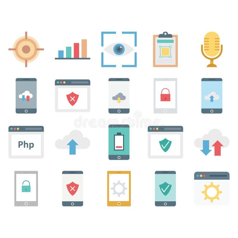Webdesign, Daten und Entwicklung lokalisierte Vektor-Ikonen stock abbildung