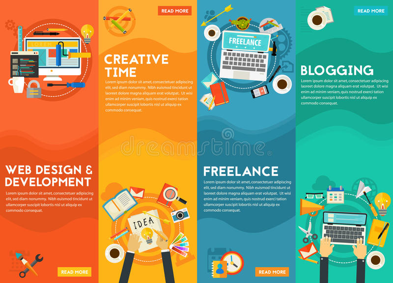 Webdesign, Development, Blogging, Freeance And Creative Time Concept. Webdesign and development, blogging, freelance and creative time concept. Vertical banners royalty free illustration