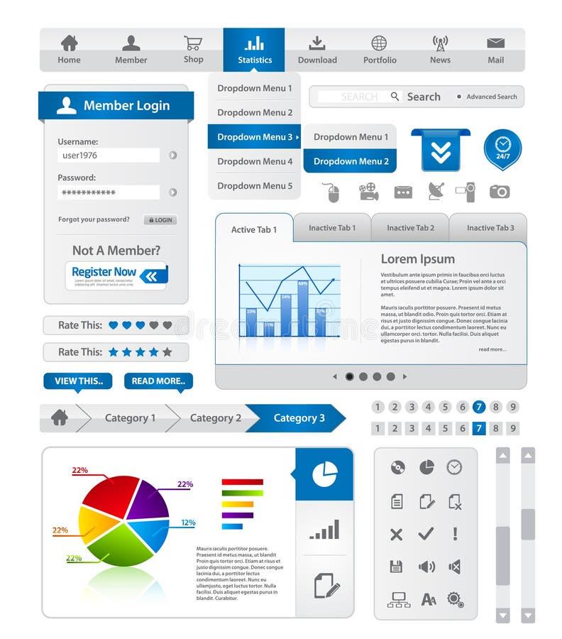 Webdesign element collection. Blue webdesign element business collection stock illustration