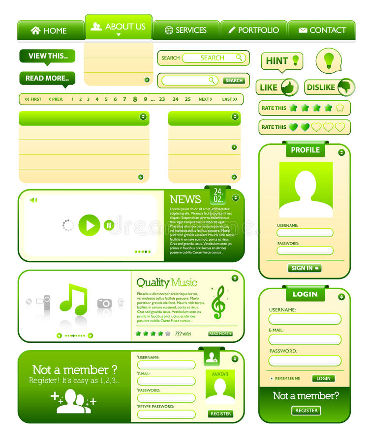 Webdesign elements collection. With green color royalty free illustration