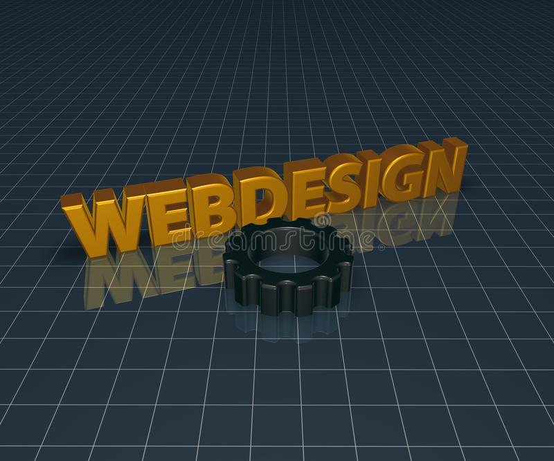 Webdesign. And gear wheel - 3d rendering royalty free illustration