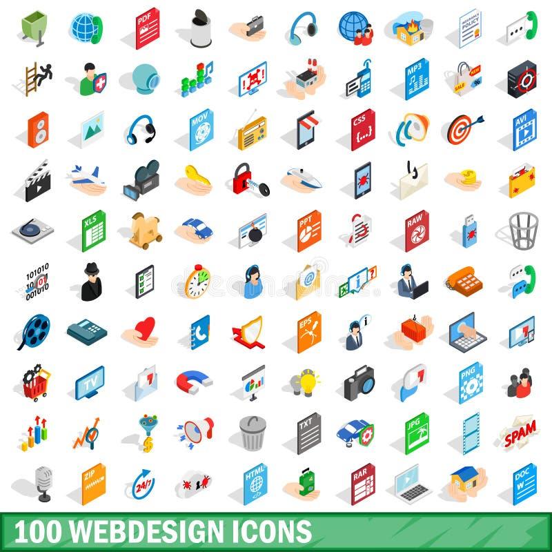 100 webdesign icons set, isometric 3d style. 100 webdesign icons set in isometric 3d style for any design vector illustration vector illustration