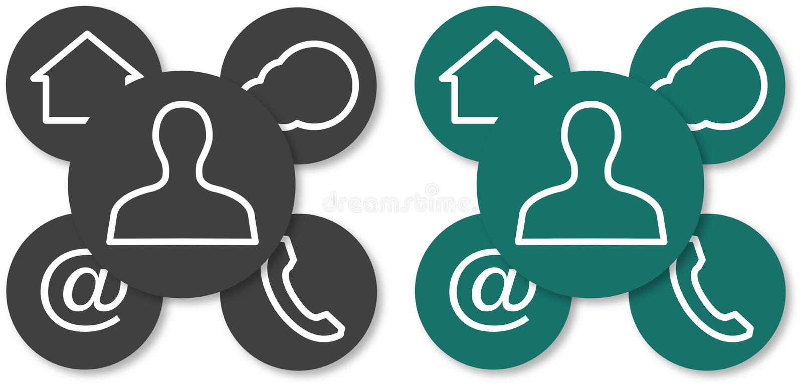 Webdesign icons. For websites with integrated social buttons for conceptional using stock illustration