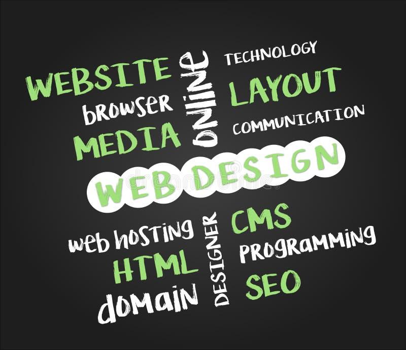 Webdesign-Konzept auf schwarzer Tafel stock abbildung