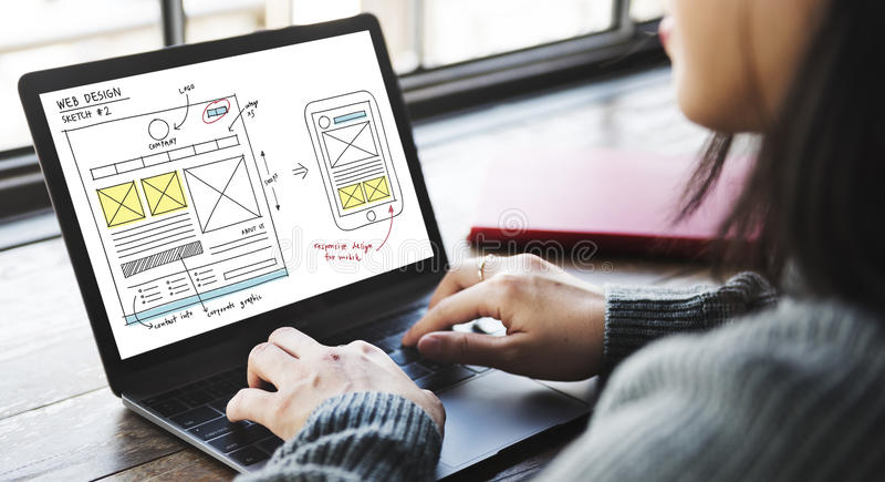 Webdesign-on-line-Technologie-Inhalts-Konzept stockbilder