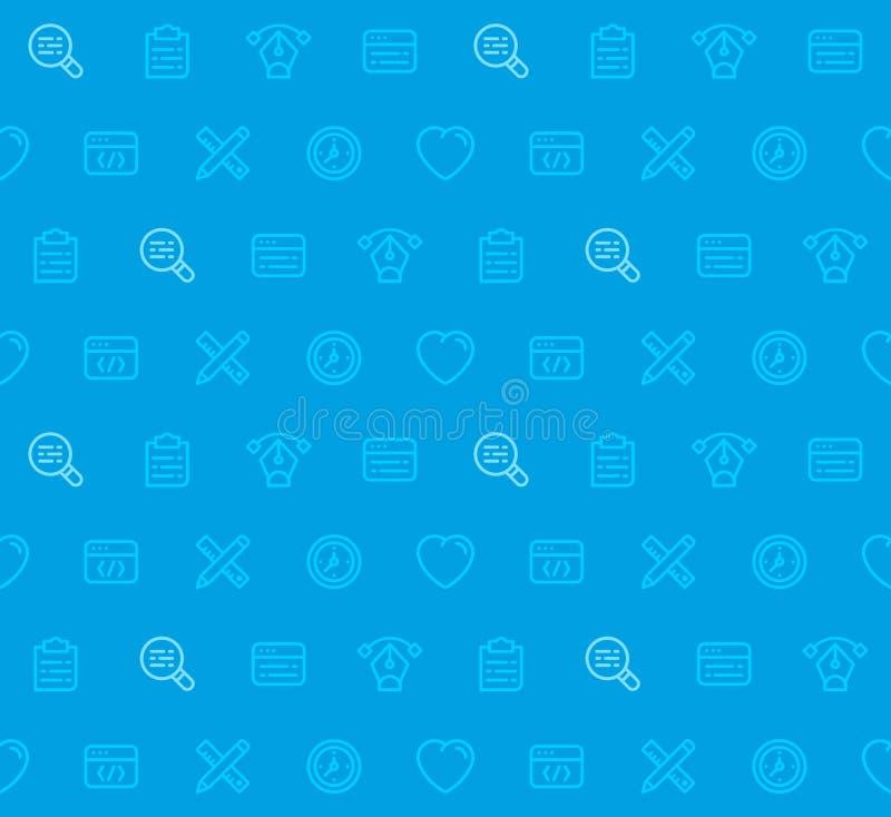 Webdesign-nahtloses Muster auf blauem Hintergrund mit Linie Ikonen vektor abbildung