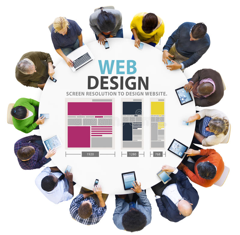 Webdesign-Netz-Website-Ideen-Medieninformations-Konzept stockbilder