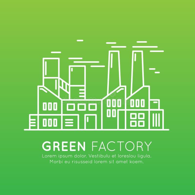 Webdesign-Schablone mit dünner Linie Ikonen von Umwelt, erneuerbare Energie, nachhaltige Technologie, bereitend, Ökologielösungen lizenzfreie abbildung